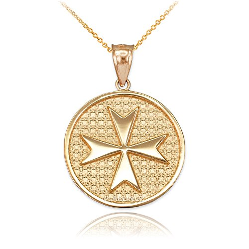 14K Yellow Gold Knights Templar Maltese Cross Medal Pendant Necklace (18) - Maltese Cross Medal