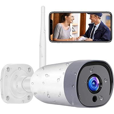 Mibao Cámara de Vigilancia WiFi Exterior, IP66 a Prueba de Agua y Polvo,Cámara de Seguridad,Visión Nocturna de 20 Metros,Tecnología de cifrado múltiple, Soporte para Android e iOS