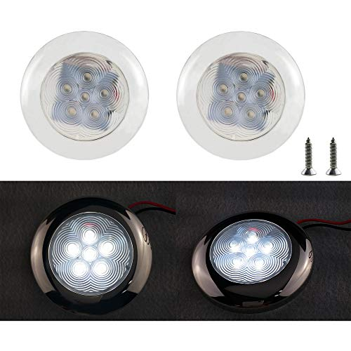 - iztor RV Boat Ceiling Light 12 Volt White LED Trailer Sailboat Interior Lighting Surface Mount (Pack of 2)