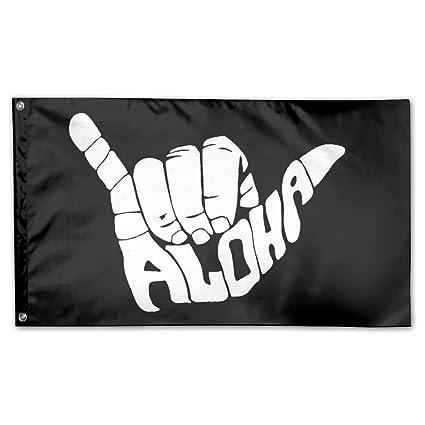475aa1845ba9 Amazon.com: MoningV Aloha Hand Hawaii Symbol Decorative Flag House ...