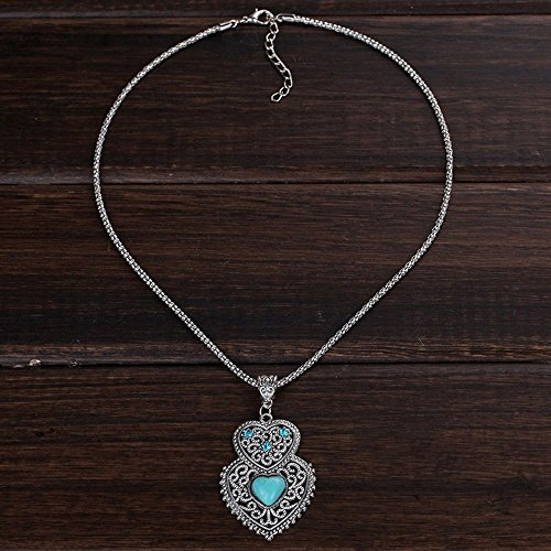 Turquoise Double Heart Pendant Necklace Chain for Women Jewelry Necklace ()
