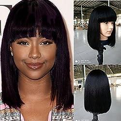 """Fanshow Brazilian Glueless Human Hair Bob Wig with Bang Yaki Machine Made Short Wigs (12"""", 1b)"""