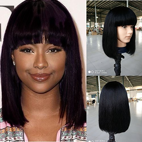 Fanshow Brazilian Glueless Human Hair Bob Wig with Bang Yaki Machine Made Short Wigs (12