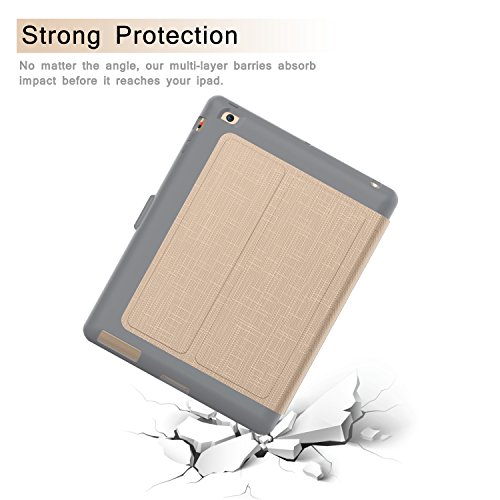 Qelus iPad 2 Case, iPad 3 Case, iPad 4 Case, Premium Leather Magnetic Stand Folio iPad Case Cover with Auto Wake/Sleep Protective Case for Apple iPad 2/3/4(9.7 inch released before 2013) (Gold) by Qelus (Image #6)