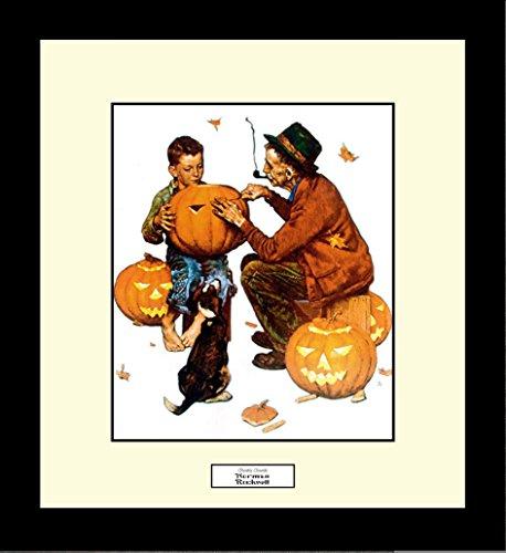 (Norman Rockwell GHOSTLY GOURDS Framed Halloween Pumpkins Wall Hanging Art)