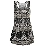 Womens Sleeveless Racerback Workout Summer Casual Loose Floral Flowy Tank Tunic Camis Blouse Tops Black