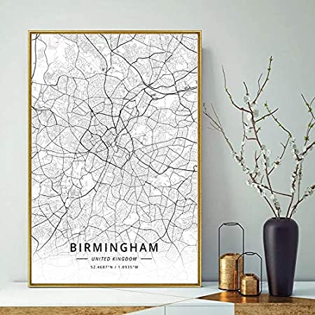 Size Inch : 20x30cm, Color: Birmingham Gabcus United Kingdom City map Bolton City map Modern City White City Maps Canvas Art Print Wall Pictures for Living Room No Frame -