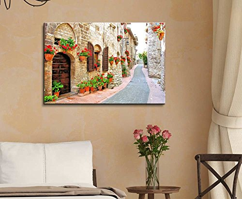 Beautiful Scenery Landscape of Picturesque Lane with Flowers in an Italian Hill Town Wall Decor