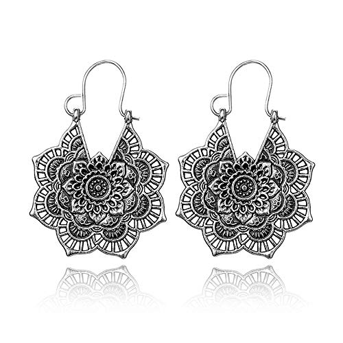 Vintage Mandala Flower Drop Dangle Earring for Women Girl Tribal Hollow Floral Pendant Earrings (Silver) ()