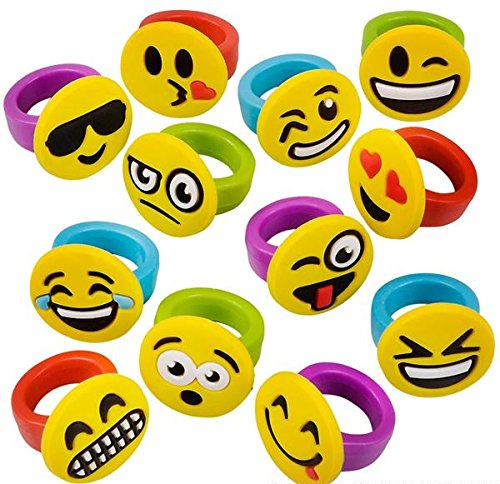 36 Pieces Emoticon Emoji Rubber Rings - Party Favors, Party Supplies, Prizes, Treasure Boxes, Stocking Stuffers, Easter Baskets ()