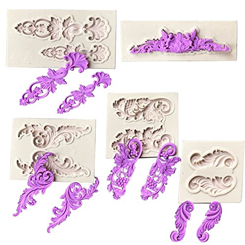 Colybecation 5pcs Baroque Style Cane Curlicues Retro Lace Fondant Silicone Mold For Cake Border Decorations, Cupcake Topper Decorations, Jewelry, Polymer Clay Decor