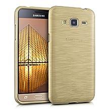 kwmobile TPU SILICONE CASE for Samsung Galaxy J3 (2016) DUOS Design brushed aluminium gold transparent - Stylish designer case made of premium soft TPU