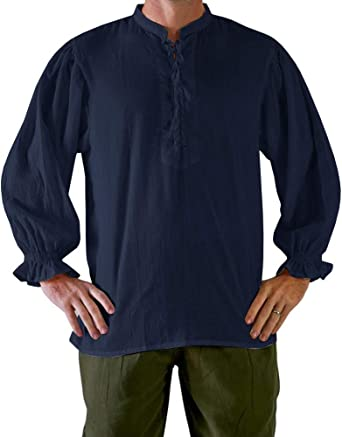 Mens Medieval Pirate Shirt Viking Renaissance Lace up Halloween Mercenary Scottish Jacobite Ghillie Tops