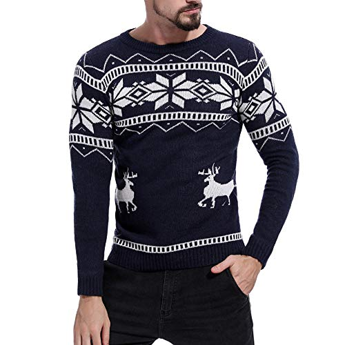 WOCACHI Final Clear Out Christmas Mens Sweater Knit Pullover Top Xmas Reindeer Ugly Sweatshirt Black Friday Cyber Monday Bottoming Shirt Autumn Winter Long Sleeve Jacket (Navy, Large) ()