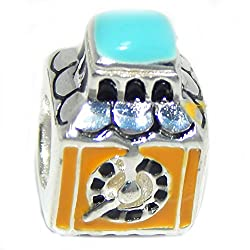 Solid 925 Sterling Silver Yellow and Blue Clock Tower Charm Bead