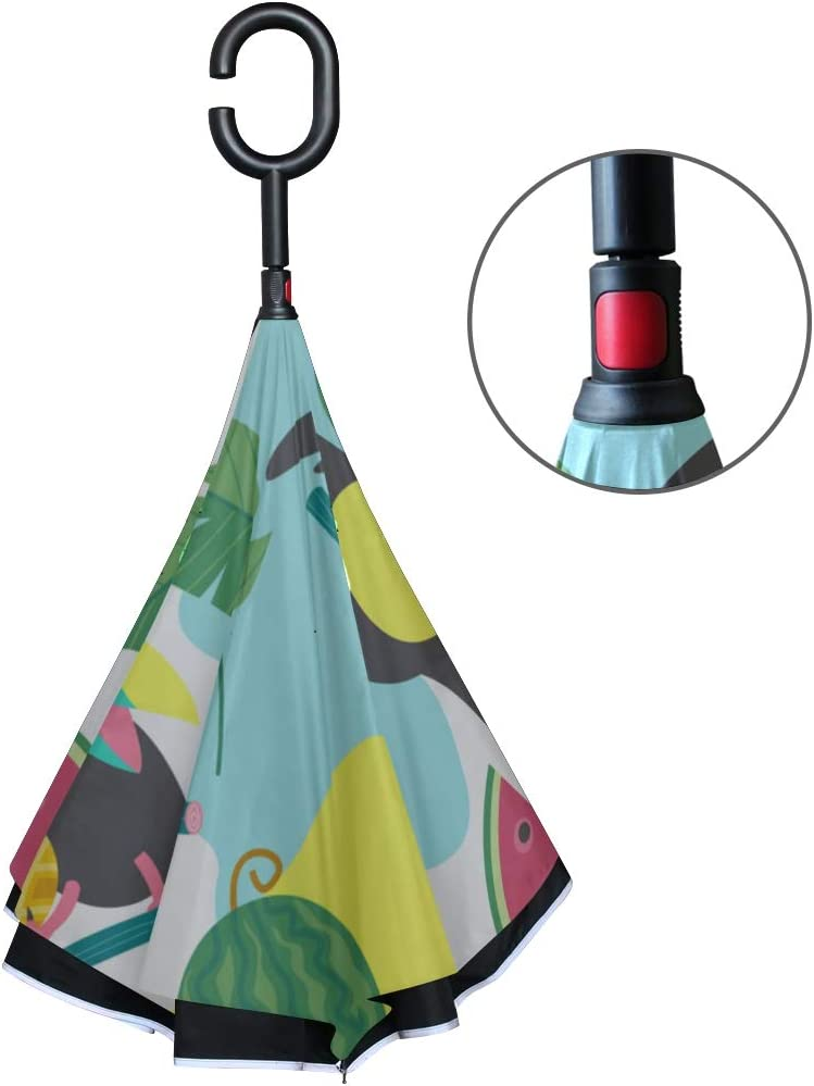 Double Layer Inverted Inverted Umbrella Is Light And Sturdy Cheerful Friendly Toucans Tropical Reverse Umbrella And Windproof Umbrella Edge Night Ref