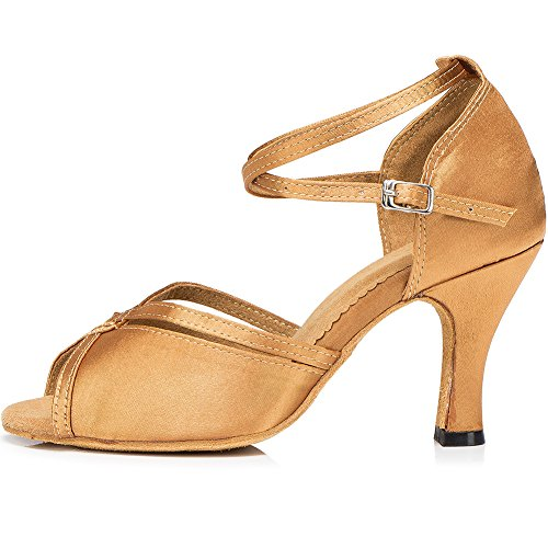 8 Latin Heel Dance Satin Cm wrap Shoes Gold Women's Elegant Salsa Sandals Ankle Tango LOSLANDIFEN zq7fx