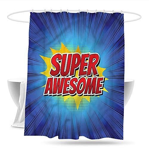 haniu Shower stall Curtains Motivational Comic Book Design Bathroom Curtain Washable Polyester W59×L70