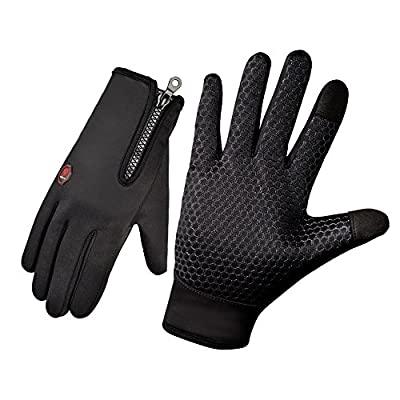 UMLIFE Cycling Gloves Upgraded Version Full Finger Touchscreen Waterproof Warm in Winter Outdoor sports Windproof Gloves Adjustable Size for Men Women Black