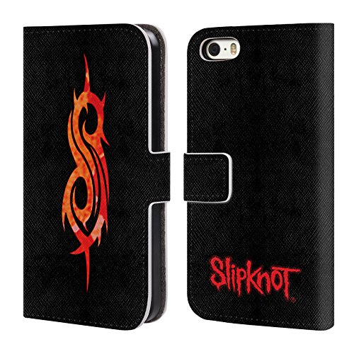 Officiel Slipknot Tribal Art Clé Étui Coque De Livre En Cuir Pour Apple iPhone 5 / 5s / SE