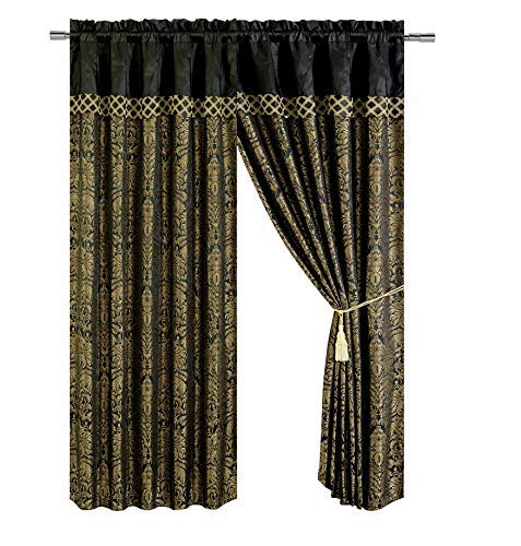(Chezmoi Collection Lisbon 4-Piece Jacquard Floral Window Curtain Set Sheer Backing Tassels Valance, Black/Gold)