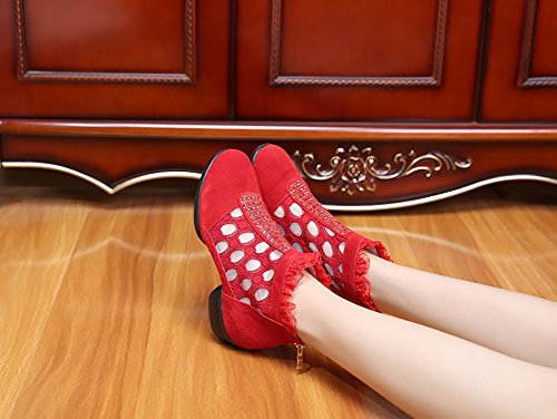 out Color Shoes Shoes Shoes Red Hollow Shoes Leather A Women's Lace Size 36 Lightweight XUE Oxford Breathable Modern Sneakers Ballroom Dance Shiny A up Summer Black 1zOWFqU