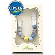 Pacifier Clip - 2 in 1 - Modern and Trendy - Teething Silicone Beads with Unique Shapes - Best for Teether Toys, Stuffed Animals, Soothie/MAM, Infant Blankets & Drool Bibs - Boy's Binky Holder