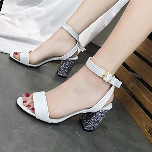 Toe Slip Heel Sparkle Fahion Peep Buckle Ankle Ladies On Dressy Sequins Glitter Sexy Chunky White T JULY Pumps Sandals Strap qgz0ZxZp