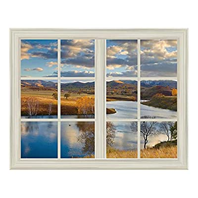 Open Field Landscape in Autumn Window View Mural Wall Sticker - 36