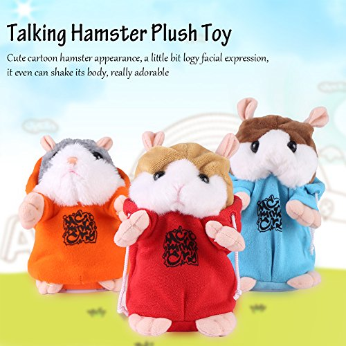 Mimicry Pet Talking Hamster Plush Toy Repeat What You Say Electronic Hamster Mouse Interactive Plush Animal Toy Sound Record Speaking Plush Toy Early Learning for Boy Girl Gift Blue