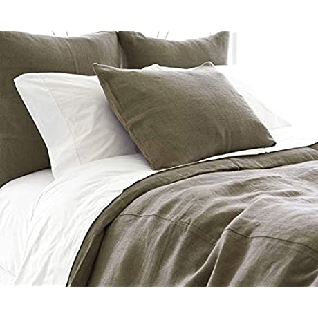 Stone Washed 100 LINEN BEDDING 7 PCS Color Grey White KING SIZE