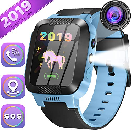 Kids Smartwatch Best GPS Tracker 3-12 Year Old Boys Girls Child Phone Watch with Digital Camera Touchscreen SOS Games Children's Sports Smart Wrist Learning Toys Christmas Holiday -