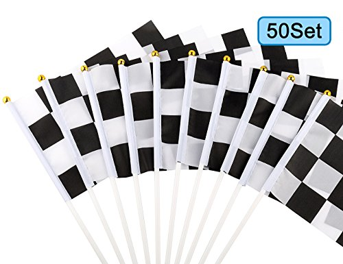 - U_star 50 Pieces Checkered Flags 8 x 5.5 Inch Racing Flag Hand Held Stick Flags, Checkered Flag Race Car Flags,Checkered Racing Flag,Checkered Flag Party Supplies,Black & White