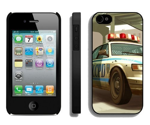lcpd gta 4 police cop car shot Black Best Buy Customized Design iPhone 4S Case (Grand Theft Auto Lcpd compare prices)