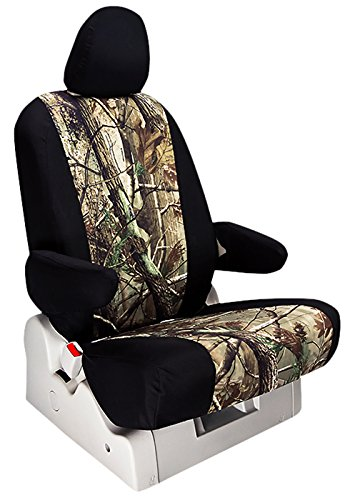 ShearComfort Custom Realtree Camo Seat Covers for Chevy Silverado 2500/3500 (2014-2014) REAR SEAT: Black w/ AP for 60/40 Split Back and Bottom w/ Pullout Arm and Adjustable Headrests (Crew Cab) (Cab Crew Fits)