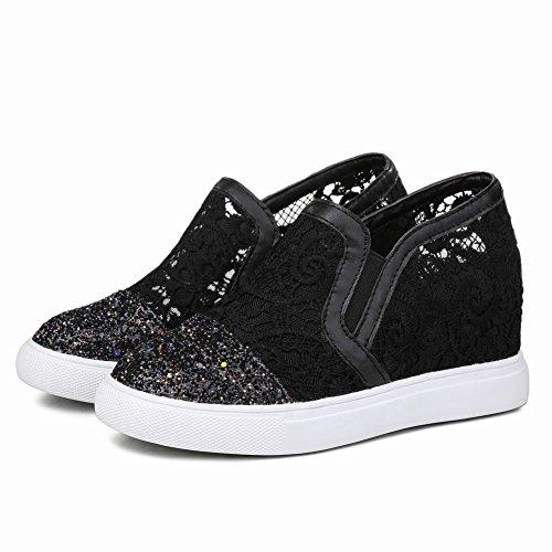 Show Shine Womens Casual Slide Platform Sleehak Instappers Schoenen Zwart