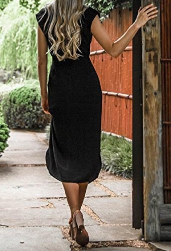 Coolred-femmes Silm Lacets Robe Beachwear Elegnat Split Creux Loisirs Noir
