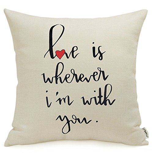 Meekio Valentines Day Decorations Pillow Covers with Love is Wherever Im with You Quotes 18 x 18 Gifts Valentines Day