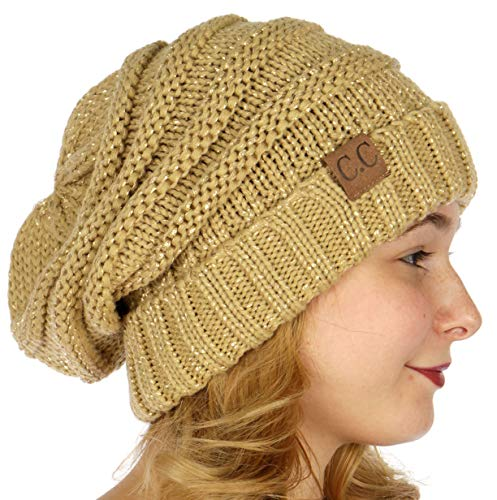 versized Slouchy Knit Winter Beanie Hat Metallic Gold ()