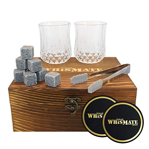- WHISMATE Whiskey Set with 2 Large Crystal Glasses in Handmade Box Includes 8 Granite Chilling Stones Cubes, Velvet Bag, 2 Coasters and a Tong, Reusable Ice Rocks, Great for Dad's Birthday, Dad's Day