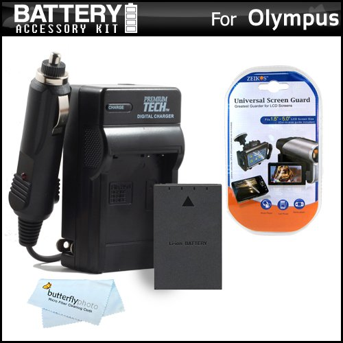 Battery And Charger Kit For Olympus E-PL5, E-PM2, E-620, E-PL1, E-P1, E-P2, E-PL2, E-P3, E-PL3, E-PM1 Digital Camera Includes Extended Replacement (1400Mah) BLS-1, BLS-5 Battery + Ac/Dc Rapid Travel Charger + MicroFiber Cloth + More ()