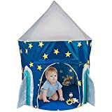 Blue Spaceship Play Tent,Sanmersen Foldable Indoor Children Kids Rocket Ship Play Tent Outdoor Playh