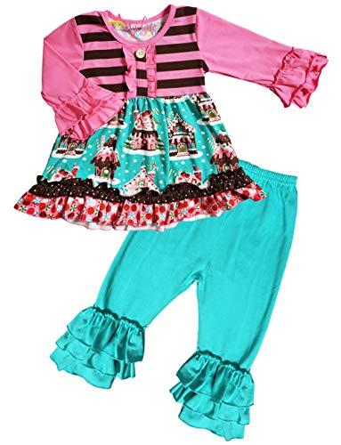 Toddler Little Girls Christmas Holiday Gingerbread House Ruffles Tunic Legging Set Pink/Turquoise Set 3T/M