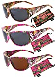 Hornz Hot Pink-Purple Camouflage Polarized Sunglasses Country Girl Style Camo & Free Matching Microfiber Pouch – 3 Pack