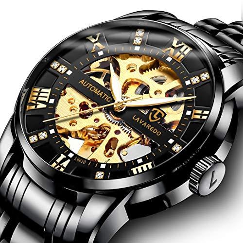 Men's Watch Black Luxury Mechanical Stainless Steel Skeleton Waterproof Automatic Self-Winding Roman Numerals Diamond Dial Wrist Watch
