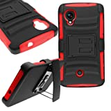 CoverON® for Google Nexus 5 Belt Clip Holster Case [Explorer Series] Hybrid Heavy Duty Protective Phone Cover with Kickstand - ( Red / Black )