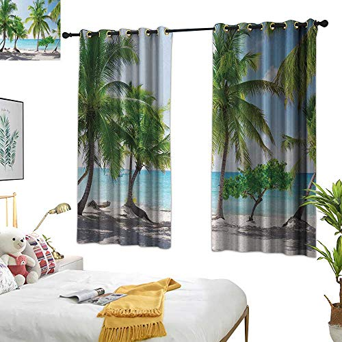 (RuppertTextile Beach Light Luxury high-end Curtains Palm Leaves in Catalina Island Dominic Seashore Coastal Panoramic Picture 63