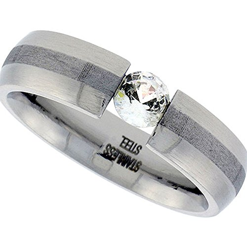 (Stainless Steel Tension Set 6 mm Cubic Zirconia Wedding Band Ring Comfort Fit Size 11)