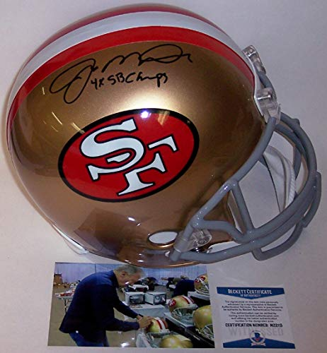 Joe Montana Autographed Hand Signed San Francisco 49ers Throwback Full Size Helmet - with 4x Super Bowl Champs Inscription - BAS Beckett Authentication