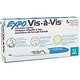 Sanfrd Vis-A-Vis Wet-Erase Overhead Projection Marker, Fine Point, Blue, Dozen